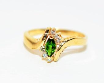 Tsavorite Garnet & Diamond .28tcw 10kt Yellow Gold Fine Gemstone Women's Ring