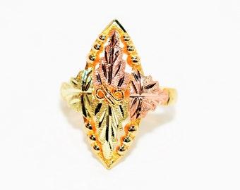 Black Hills Gold 10kt Yellow Gold Leaf Vine Boho Nature Statement Women's Ring