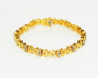 Diamond 1.56tcw 18kt Yellow Gold Cluster Statement Women's Tennis Bracelet