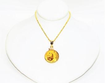 14kt Yellow Gold Chain 24kt 50 Yuan Panda Coin Statement Women's Pendant Necklace