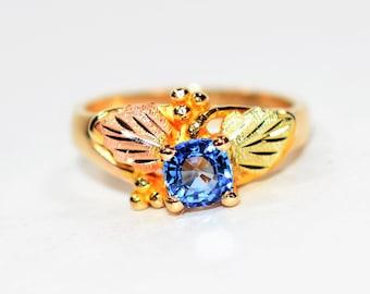 Ceylon Sapphire .61ct 10kt Black Hills Yellow Gold Solitaire Leaf Women's Ring