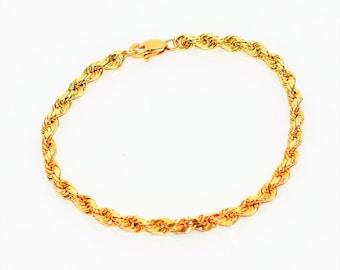 14kt Yellow Gold 4mm Twist Rope Chain Bracelet