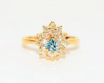 Paraiba Tourmaline & Diamond .65tcw 14kt Yellow Gold Fine Trillion Women's Ring