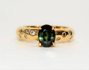 Green Sapphire & Diamond 1.57tcw 18kt Yellow Gold Women's Ring