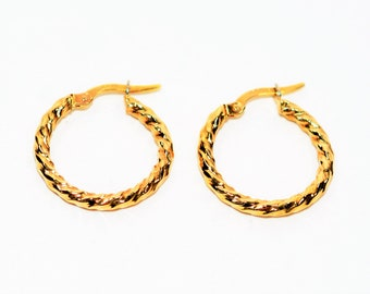 14kt Yellow Gold 2.25mm Twist Textured Hoop Statement Women's Earrings