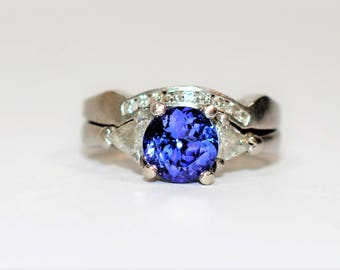 D' Block Tanzanite & Diamond 2.33tcw Platinum Wedding Ring Band Women's Set