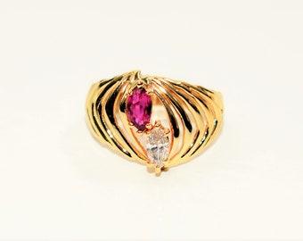Ruby & Diamond .84tcw 14kt Yellow Gold Gemstone Statement Women's Ring