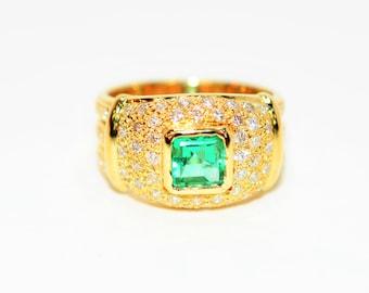 AAA Colombian Emerald & Diamond 1.42tcw 18kt Yellow Gold Cigar Band Women's Ring