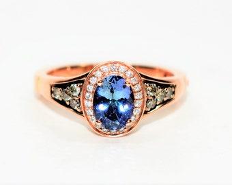 LeVian Blueberry Tanzanite & Diamond 1.75tcw 14kt Rose Gold Superfit Women's Ring