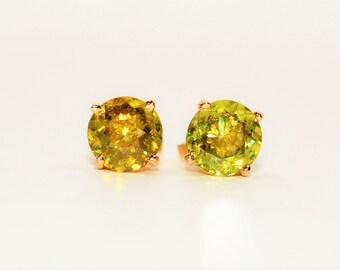Sphene 2.80tcw 14kt Yellow Gold Solitaire Stud Gemstone Women's Earrings