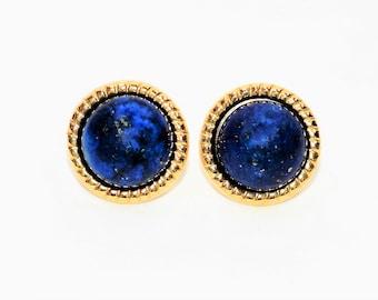 Lapis Lazuli 12mm 14kt Yellow Gold Solitaire Gemstone Stud Women's Earrings
