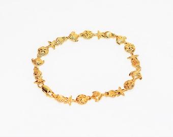 14kt Yellow Gold Beach Nautical Fish Seashell Women's Bracelet