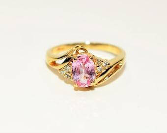 Padparadscha Sapphire & Diamond 1.06tcw 14kt Yellow Gold Statement Women's Ring