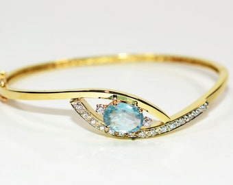 Paraiba Tourmaline & Diamond 3.36tcw 14kt Yellow Gold Bangle Women's Bracelet