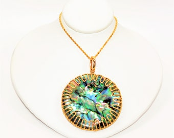 Abalone Shell 48mm 14kt Gold Reversible Extra Long Statement Pendant Necklace