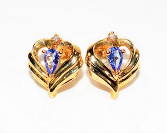 Tanzanite & Diamond .50tcw 10kt Yellow Gold Stud Women's Earrings