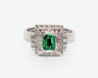 Colombian Emerald & Diamond 1.27tcw 18kt White Gold Statement Women's Ring