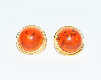 Amber Gemstone 14kt Yellow Gold Solitaire Stud Large Statement Women's Earrings