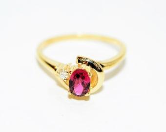 Ruby & Diamond .71tcw 14kt Yellow Gold Gemstone Statement Women's Ring