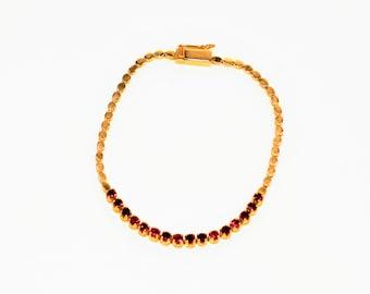 Ruby 1.28tcw 14kt Yellow Gold Tennis Women's Bracelet