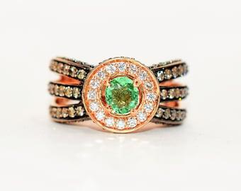 LeVian Paraiba Tourmaline & Chocolate Diamond 2.16tcw 14kt Rose Gold Pave Ring