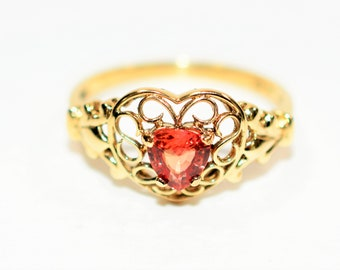 Padparadscha Sapphire .52ct 10kt Yellow Gold Heart Solitaire Women's Ring