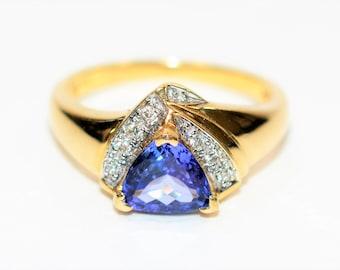GIA Certified D'Block Tanzanite & Diamond 1.44tcw 14kt Yellow Gold Women's Ring
