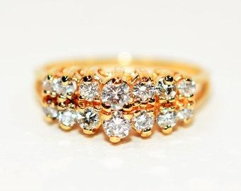 Diamond .58tcw 14kt Yellow Gold Cluster Statement Women's Ring