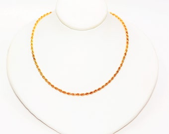 """14kt Yellow Gold 17.5"""" 2mm Twist Rope 7.6 Grams Chain Necklace"""