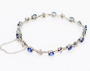 LeVian Ceylon Sapphire & Diamond 5.30tcw 14kt White Gold Tennis Women's Bracelet