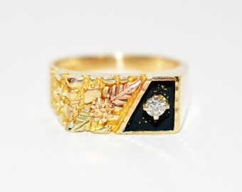 Diamond .10ct 10kt Black Hills Yellow Gold Leaf Statement Solitaire Men's Ring