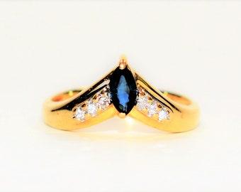 Blue Sapphire & Diamond .50tcw 14kt Yellow Gold Women's Ring