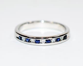 Blue Sapphire & Diamond .22tcw 14kt White Gold Band Women's Ring