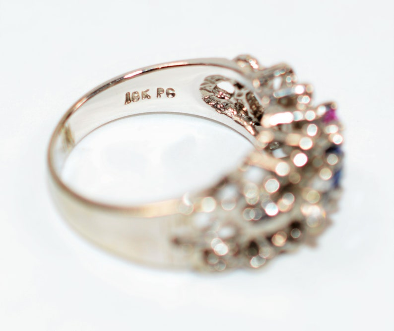50/% OFF SALE with free limited resizing! Mothers Love .51tcw Pink Topaz Blue /& White Sapphire 10kt White Gold Ring