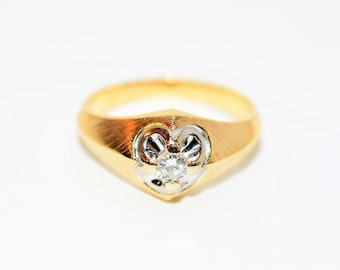 Diamond .25ct 14kt Yellow & White Gold Solitaire Statement Men's Ring