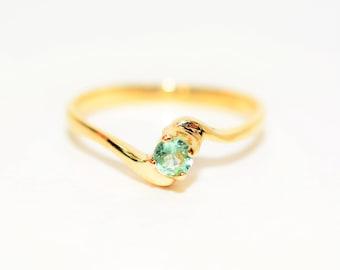 Paraiba Tourmaline .22ct 10kt Yellow Gold Solitaire Fine Gemstone Women's Ring