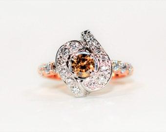 Fancy Chocolate & White Diamond 1.51tcw 14kt Rose Gold Engagement Women's Ring