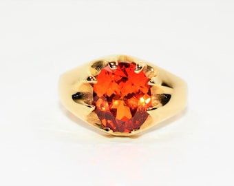 Helenite 4.84ct 10kt Yellow Gold Solitaire Statement Men's Ring
