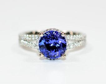 GIA Certified D'Block Tanzanite & Diamond 3.38tcw Platinum A. Jaffe Designer Engagement Women's Ring