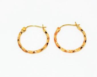 14kt Yellow Gold 21mm Twist Textured Hoop Statement Women's Earrings