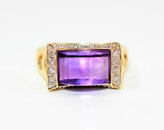Amethyst & Diamond 3.56tcw 14kt Yellow Gold Statement Women's Ring