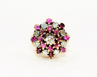 Ruby & Diamond 1.69tcw 14kt Yellow Gold Antique Cluster Women's Ring