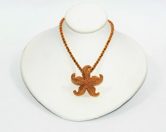 Nautical Beach Starfish 14kt Yellow Gold Statement Pendant Women's Necklace