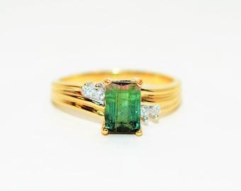 Watermelon Tourmaline & Diamond 1.07tcw 14kt Yellow Gold Gemstone Women's Ring