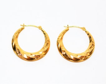 Yellow Gold 24mm Twist Textured Hoop Statement Women's Earrings