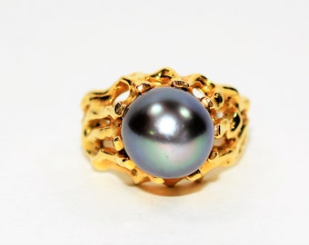 Black Tahitian Pearl 10mm 18kt Yellow Gold Solitaire Statement Women's Ring