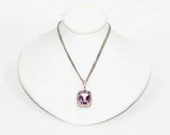 Amethyst & Diamond 6.35tcw 14kt White Gold Pendant Multi-Strand Women's Necklace