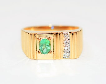 Paraiba Tourmaline & Diamond .50tcw 10kt Yellow Gold Gemstone Men's Ring