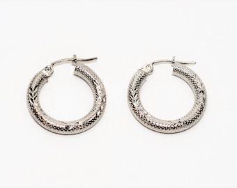 14kt White Gold 3mm Textured Petite Hoop Women's Earrings