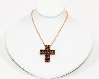 Chocolate Diamond .96tcw 10kt Rose Gold Cross Pendant & 14kt Cluster Women's Necklace